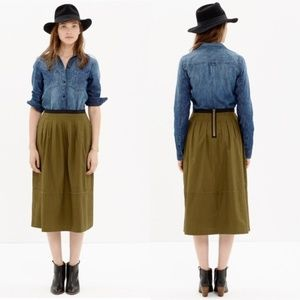 Madewell Pleated Midi Skirt Olive Green Size 0